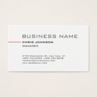 Trendy Simple Plain White Manager Business Card