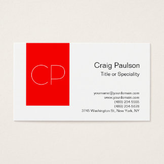 Trendy Simple Red White Monogram Business Card
