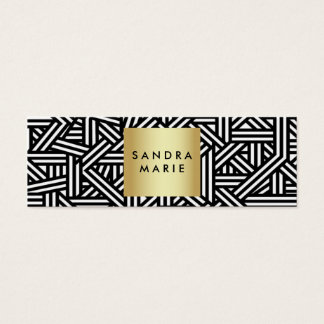 trendy skinny retro gold and black business card