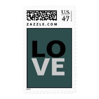 Trendy Slate Grey Background Love Wedding Stamp