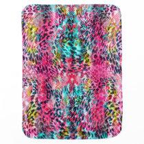 trendy snake skin leopard animal print blend neon baby blanket