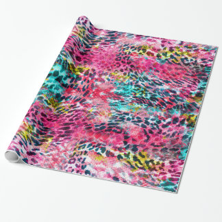 trendy snake skin leopard animal print blend neon wrapping paper