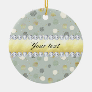 Trendy Snow Polka Dots Stars Diamonds Ceramic Ornament
