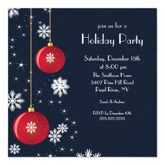 Trendy Snowflake Ornament Holiday Party Invitation