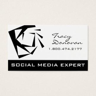 """Trendy Social Media Expert """"Quartz"""" black & white Business Card"""