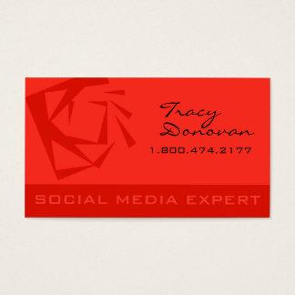 """Trendy Social Media Expert """"Quartz"""" coral Business Card"""
