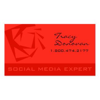 "Trendy Social Media Expert ""Quartz"" coral Business Card Template"