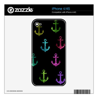 Trendy sparking anchors in black background iPhone 4 decals