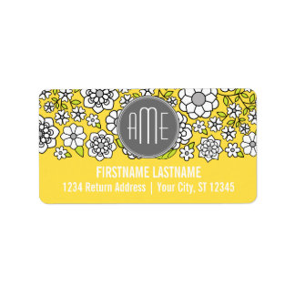 Trendy Spring Floral Illustration gray and yellow Address Label