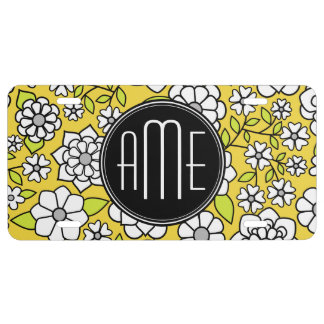Trendy Spring Floral Illustration gray and yellow License Plate