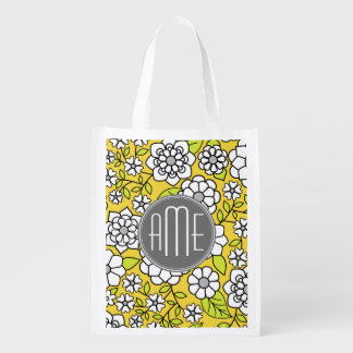 Trendy Spring Floral Illustration gray and yellow Reusable Grocery Bag