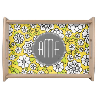 Trendy Spring Floral Illustration gray and yellow Serving Tray