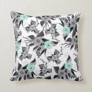 Trendy spring grey mint green watercolor floral throw pillow