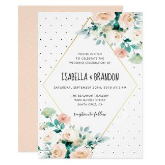 Trendy Spring Watercolor Floral Wedding Invitation