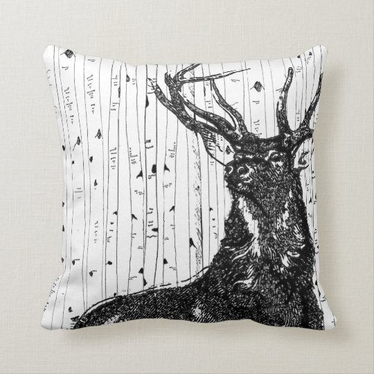 Trendy Stag Deer and Birch Tree Pillow
