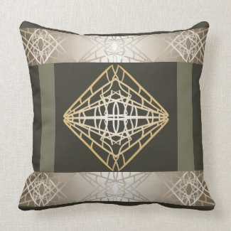 Trendy Steel Grey Geometric Contemporary Throw Pillow