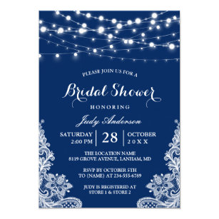 Light blue bridal shower invitations announcements zazzle trendy string lights lace navy blue bridal shower card filmwisefo Images