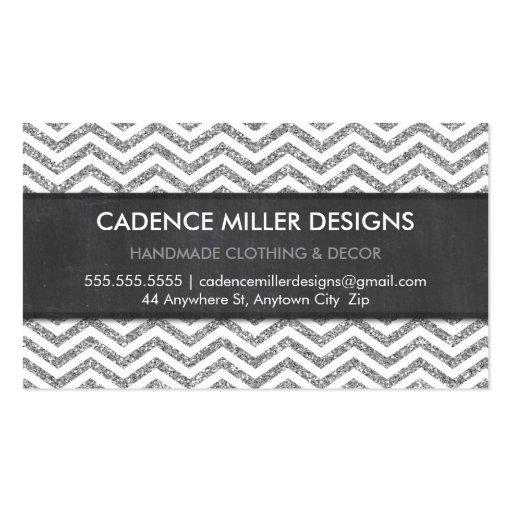 TRENDY STRIPE chevron silver glitter chalkboard Business Card Template