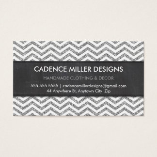 TRENDY STRIPE chevron silver glitter chalkboard Business Card