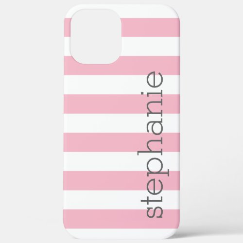 Trendy Striped Pattern with name - Pastel Pink Phone Case