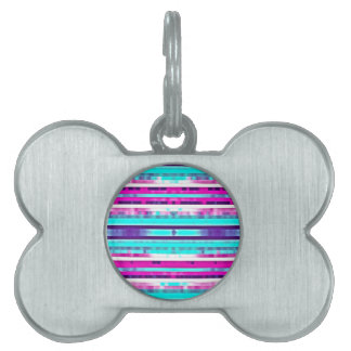 Trendy Stripes Abstract Multicolor Girly Pattern Pet ID Tags