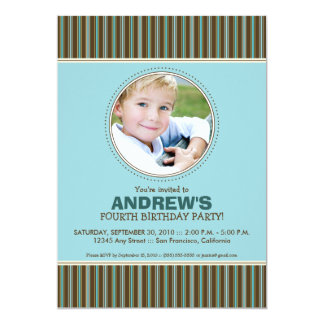 Trendy Stripes Boy's Blue Birthday Party Invite