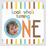 Trendy Stripes Look Who's Turning One Square Sticker