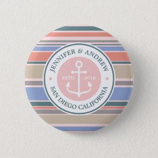Trendy Stripes Monogram Anchor Pink Nautical Beach Button