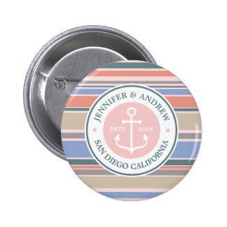 Trendy Stripes Monogram Anchor Pink Nautical Beach Button