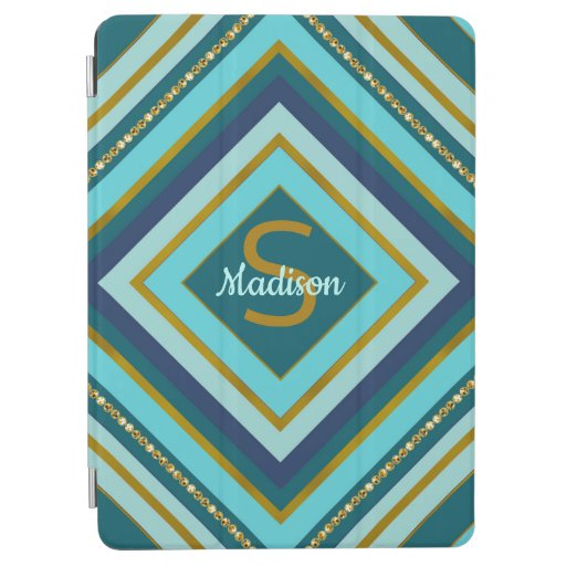 Trendy stripes monogram aqua design iPad air cover