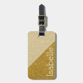 Trendy Stripes Monogram Gold Glitter Photo Print Travel Bag Tag