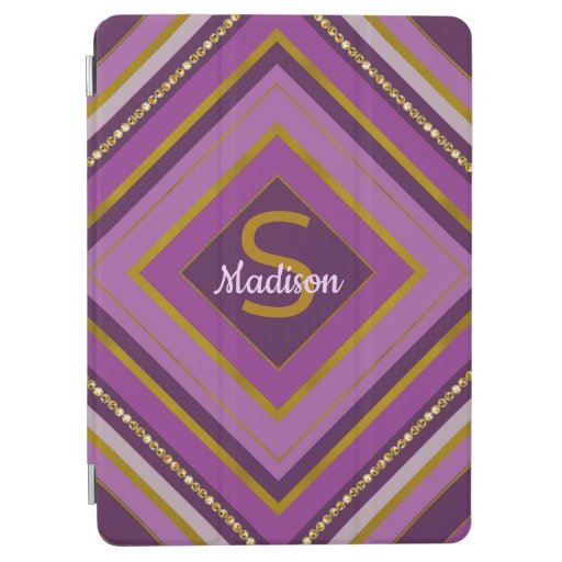 Trendy stripes monogram purple design iPad air cover