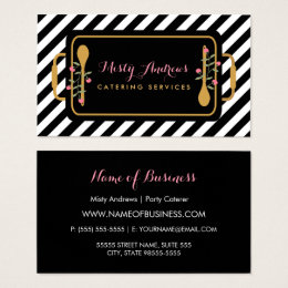 Food service business cards templates zazzle trendy stripes party caterer floral serving tray business card colourmoves Choice Image