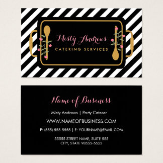 Trendy Stripes Party Caterer Fl Serving Tray Business Card