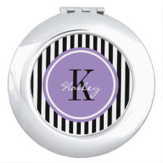 Trendy Stripes Personalized Compact Mirror at Zazzle