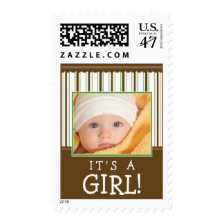 Trendy Stripes Photo Baby Stamp (green/brown)