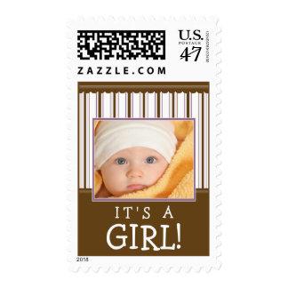 Trendy Stripes Photo Baby Stamp (purple/brown)