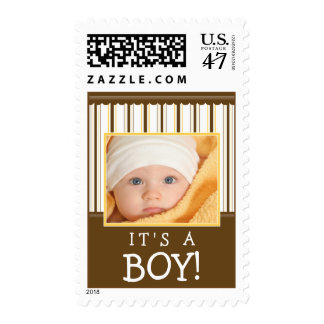 Trendy Stripes Photo Baby Stamp (yellow/brown)