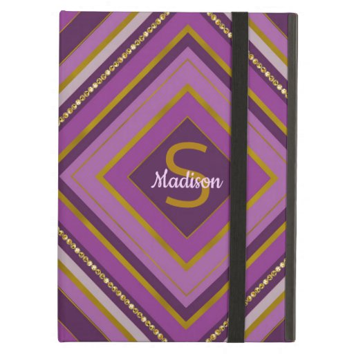 Trendy stripes purple monogram design case for iPad air