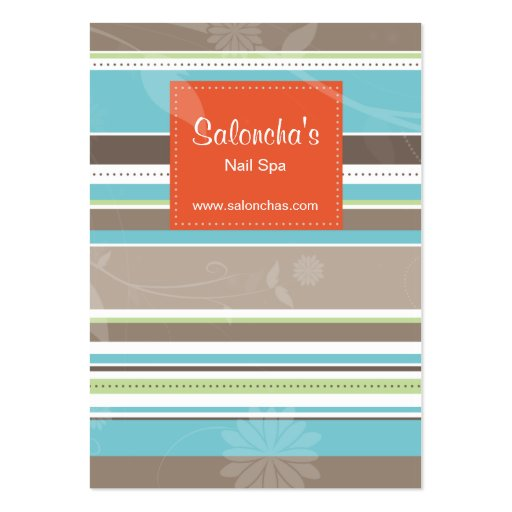 Trendy Stripes Salon Business Card Orange