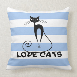 Trendy stripes whimsical funny cat throw pillow