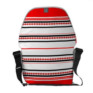 "Trendy studded pattern ""racing stripe"" messenger bag"