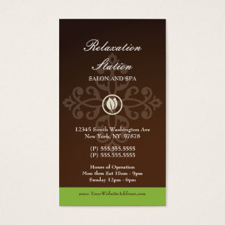 Trendy stylish brown green damsk spa business card