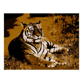 Trendy Stylish Brown Yellow Wild Tiger Poster