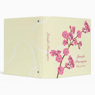 Trendy stylish cherry blossom graduation binder