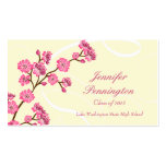 Trendy stylish cherry blossom graduation name card business card template
