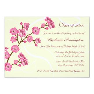 Trendy stylish cherry blossom graduation party custom invitation