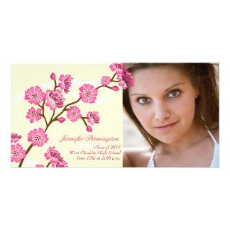 Trendy stylish cherry blossom graduation photocard photo card template