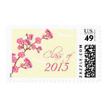 Trendy stylish cherry blossom graduation stamp