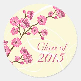 Trendy stylish cherry blossom graduation stickers